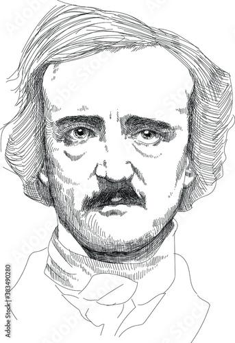 Obraz na plátně Edgar Allan Poe - American writer, poet, editor, and literary critic