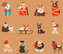 Hand Drawn Vector Abstract Fun Stock Flat Merry Christmas,and Happy New Year Time Cartoon Festive Seamless Pattern With Cute Dog Illustrations Of Xmas Retro Gift Boxes Isolated On Color Background