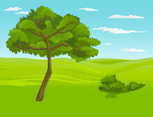Green Bright Tree With A Lush Crown, Thick Brown Trunk And Branches In A Natural Landscape. Illustration Of Big Plant With Foliage Round Shape, Landscape With Green Meadow, Bushes And Blue Cloudy Sky