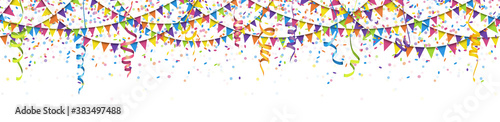Photo seamless colored garlands, confetti and streamers background