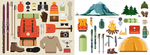 Vector flat illustration of winter hiking gear | Large set of snow backpack trip equipment | Winter exploring essentials featuring touring skis, hiking boots, shovel, binoculars, sweater and more