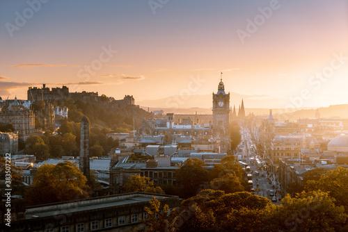 Fototapeta Edinburgh city skyline from Calton Hill., United Kingdom obraz