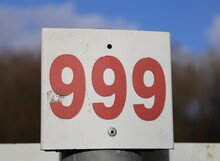 A Closeup View Of A 999 Emergency Number Used To Indicate A Telephone Is Nearby.
