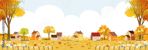 Fotografie, Tablou Autumn landscape in village with copy space, Vector illustration Flat design rur