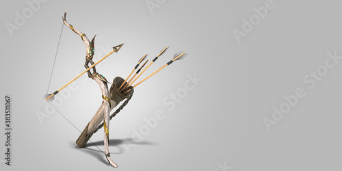 gold bow and arrow attributes of the dussehra holiday 3d render grey gradient Canvas Print