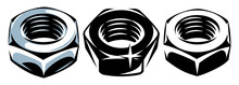 A Set Of Three Metal Nuts. Vector Illustration. Templates For Design