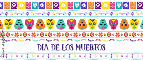 Photo Day of the dead, Dia de los muertos, banner with traditional colorful Mexican icons