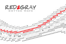 Red And Gray Dotted Wave. Vector Graphics