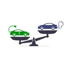 Electric Car Versus Gasoline And Diesel Car On Scales Icon Vector. Comparison Between Electric Environmentally Friendly And Gas Polluting Car