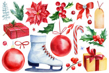 Christmas Set Of Elements On White Isolated Background, Ball, Bow, Skates, Holly, Poinsettia Watercolor Illustration.