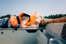 Young Girl Sleeping On A Boat ...