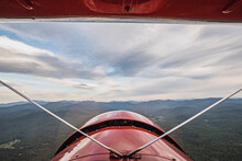 View From Cockpit Of Vintage Biplane Of White Mountains, New Hampshire