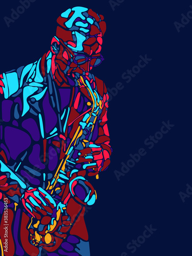 Jazz mood. Singer, musician, artist man character. Abstract color illustration, line modern design. Contemporary artwork, copyspace. Concept of music, hobby, dance festival and holidays