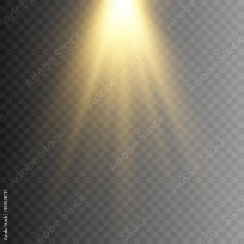 Fototapeta Golden light, rays of light. Golden flash png. Light, lighting. Vector illustration. obraz na płótnie