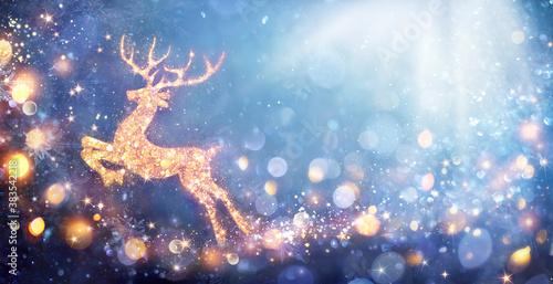 Christmas Card - Shiny Reindeer In Defocused Glittering Background - Contain 3d Illustrations