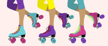 Vector Illustration With Female Legs In Retro Roller Skates On Pink  Background.