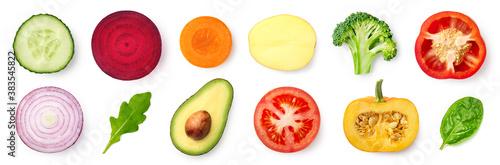 Fototapeta Set of different fresh vegetable slices isolated on white background