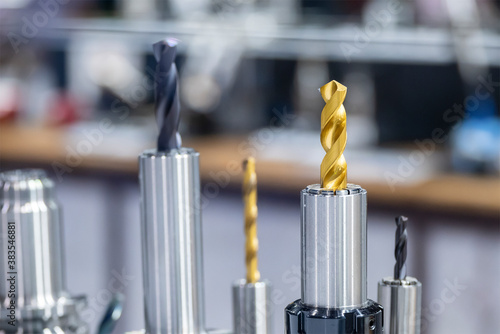 Close-up scene of special drill bit for CNC machine .The drilling tool for hard metal material.