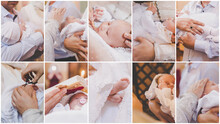 Collage Of The Sacrament Of The Baptism Of A Baby. Selective Focus.