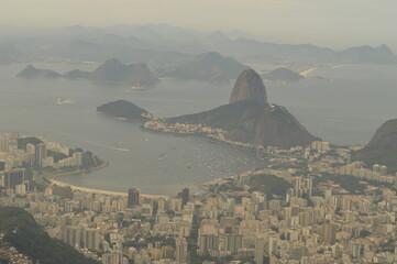 The beautiful Sugar Loaf Mountain and scenery around Rio de Janeiro in Brazil