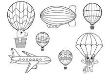 Funny Coloring Kids Air Transp...