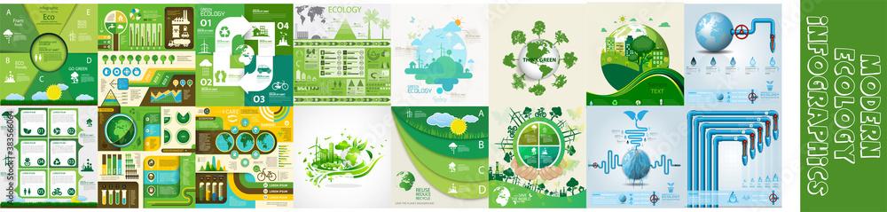 Fototapeta Modern ecology infographics