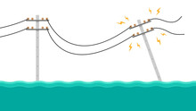 Electric Poles Flood. Broken Electric Pole Vector. Electric Pole On White Background.