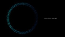 Vector Abstract Wavy Circles Lines Round Frame Blue Color With Dot Particles Flowing Isolated On Black Background. In Concept Technology, Science, Modern.