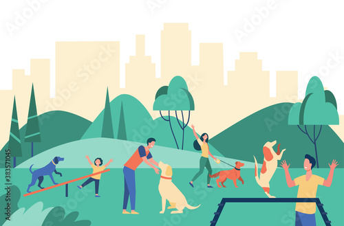 Fototapeta Happy people walking with dogs at city park isolated flat vector illustration. Cartoon characters training their pets in special area. Animals and outdoor activity concept obraz