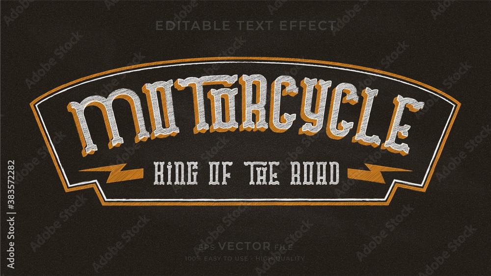 Fototapeta Motorcycle typography chalkboard premium editable text effect