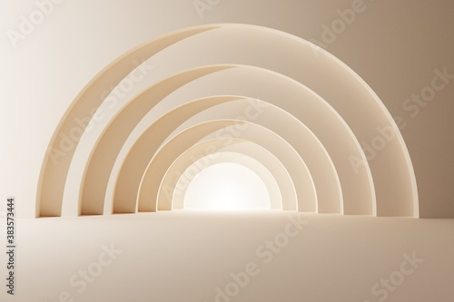 Photographie Pastel background arch tunnel with glowing architectural elements 3d illustratio