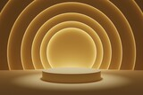 Fototapeta Perspektywa 3d - Gold background tunnel podium with glowing architectural elements 3d illustration