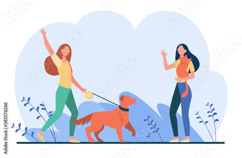 Obraz Friend walking with pets, meeting and waving hello. Women with dog and cat outside flat vector illustration. Animal care, adoption, lifestyle concept for banner, website design or landing web page - fototapety do salonu