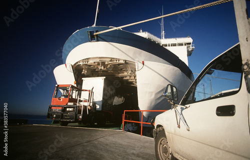 Fototapeta Cargo being loaded onto ferry Port Melbourne Victoria Australia
