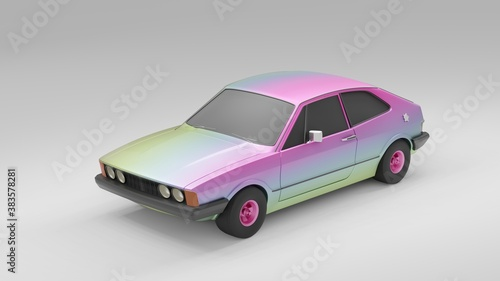 Cool looking old fashion car, studio render on white background. Bright modern car design. 3d illustration.