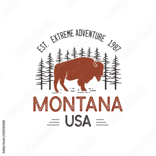 Montana USA logo template, retro national park adventure emblem design with bison buffalo and trees head. Unusual vintage art style sticker. Stock vector label