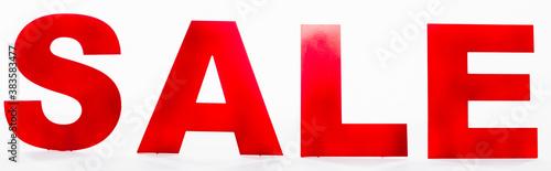 Fototapeta Website header of sale lettering on white background