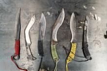 Handmade Knives On Metal Table