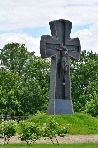 Photo Memorial Cross to Cossack defenders on the territory of old wooden Cossack fortress in Baturin, Ukraine