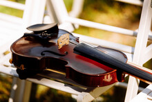 Beautiful Violin On A White Ch...
