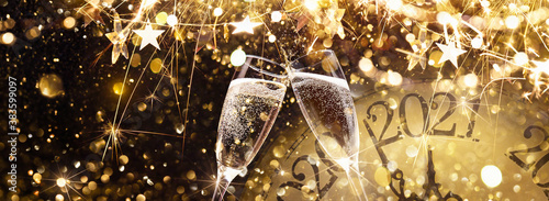 Vászonkép New Year's Eve 2021 Celebration Background with Champagne