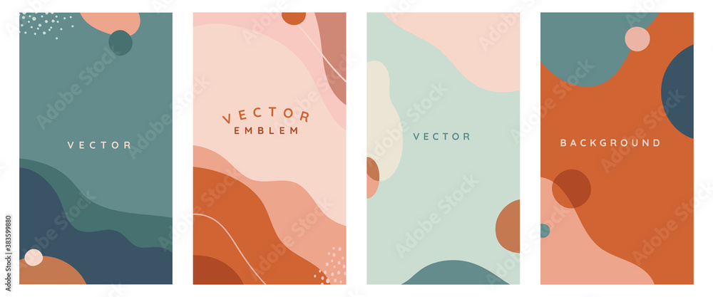 Fototapeta Vector set of abstract creative backgrounds in minimal trendy style with copy space for text -