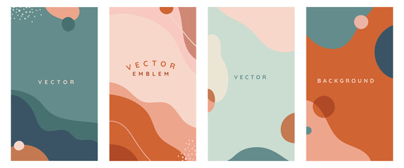 Vector set of abstract creative backgrounds in minimal trendy style with copy space for text -
