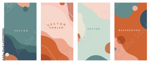 Obraz Vector set of abstract creative backgrounds in minimal trendy style with copy space for text - - fototapety do salonu
