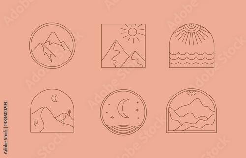 Vector set of linear boho icons and symbols - sun logo design templates  - abstr Wallpaper Mural