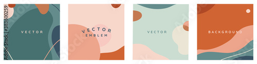 Fototapeta Vector set of abstract creative backgrounds in minimal trendy style with copy space for text - obraz