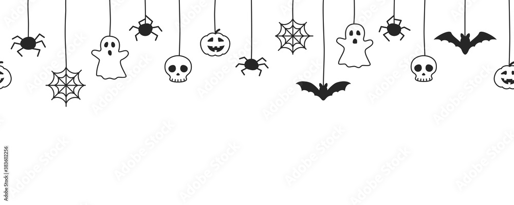 Fototapeta Happy Halloween seamless banner or border with black bats, spider web, ghost  and pumpkins. Vector illustration party invitation white background