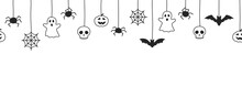 Happy Halloween Seamless Banner Or Border With Black Bats, Spider Web, Ghost  And Pumpkins. Vector Illustration Party Invitation White Background