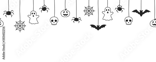 Canvastavla Happy Halloween seamless banner or border with black bats, spider web, ghost  and pumpkins