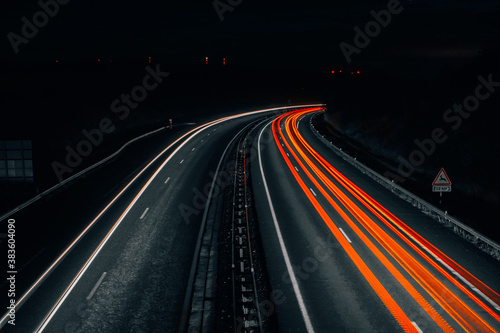 Fototapeta Autoroute de nuit (pause longue) obraz